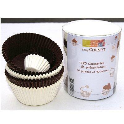 Image du produit Moule en papier décoratif - Caissettes papier cupcakes : Blanc/brun x120
