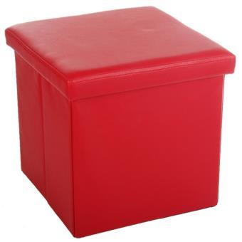 tabouret pouf pliable coffre de rangement confortable rouge achat prix fnac. Black Bedroom Furniture Sets. Home Design Ideas