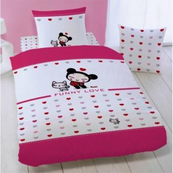 housse de couette 140x200 taie d 39 oreiller pucca funny love top prix fnac. Black Bedroom Furniture Sets. Home Design Ideas