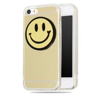 coque gel iphone 5 5s se miroir smile emoji smiley gold or dore achat prix fnac. Black Bedroom Furniture Sets. Home Design Ideas