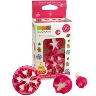 Image du produit ScrapCooking® - Set 3 découpoirs plastique avec éjecteur - Noël