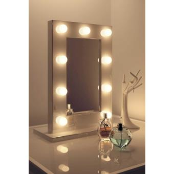miroir de maquillage hollywood blanc lampes led blanc. Black Bedroom Furniture Sets. Home Design Ideas