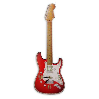 Horloge murale ted smith guitare rouge top prix fnac for Decoration murale guitare