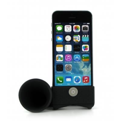 Découvrez le Horn Stand amplificateur de son pour iPhone 4/4S. Cet objet en forme de trompette est étonnant d´efficacité. Installez votre iPhone et profitez d´un son optimal pour animer vos journées et vos soirées. Décliné en plusieurs coloris et fabriqué