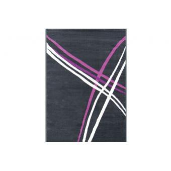 tapis d co rayures gris blanc violet 160x230 cm achat prix fnac. Black Bedroom Furniture Sets. Home Design Ideas