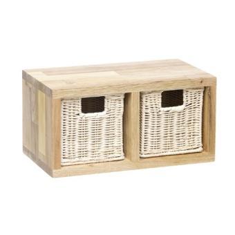 panier de rangement etag re murale 2 tiroirs osier achat prix fnac. Black Bedroom Furniture Sets. Home Design Ideas