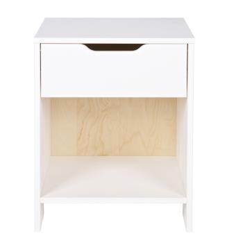 table de chevet enfant avec 1 tiroir en pin massif coloris blanc dim h 52 x l 39 x p 33 cm. Black Bedroom Furniture Sets. Home Design Ideas