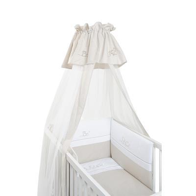 Voile de lit et berceau ABC taupe et blanc coton pour 84€