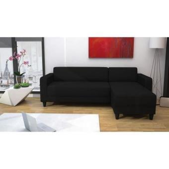firr canap conv lit angle r v 5 places tissu noir achat prix fnac. Black Bedroom Furniture Sets. Home Design Ideas