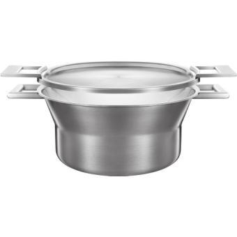 castey casserole profonde en acier inoxydable 3 couches avec couvercle 24 cm 3 75 l achat. Black Bedroom Furniture Sets. Home Design Ideas