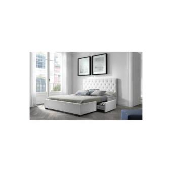 louis structure de lit 140x190 cm sommier 2 tiroirs simili blanc achat prix fnac. Black Bedroom Furniture Sets. Home Design Ideas