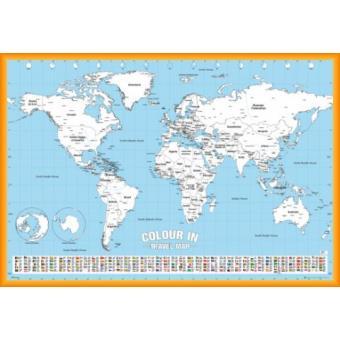 poster encadr cartes du monde flags colour in poster 61x91 cm cadre plastique orange. Black Bedroom Furniture Sets. Home Design Ideas