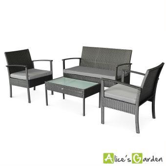 Ensemble de jardin en r sine tress e salon 4 places noir gris modena fauteuil canap table for Table basse resine tressee noir