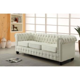 chesterfield canap droit 3 places cuir blanc cru acheter sur. Black Bedroom Furniture Sets. Home Design Ideas