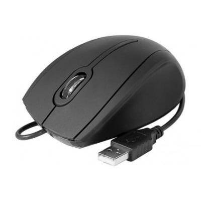 Souris optique filaire ergonomique USB Pour votre confort, cette souris noire mate rehaussee d´une molette chromee se coule dans votre paume. - Souris optique 800dpi 2 boutons + molette crantee - périphérique HID a connectique USB - Cordon de 1.45m +/- 5%