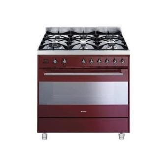 smeg c9gmr cuisini re 90 cm rouge achat prix fnac. Black Bedroom Furniture Sets. Home Design Ideas