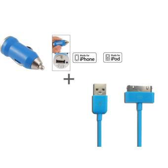 Kit chargeur auto c ble iphone ipod bleu achat prix fnac - Chargeur iphone 6 fnac ...
