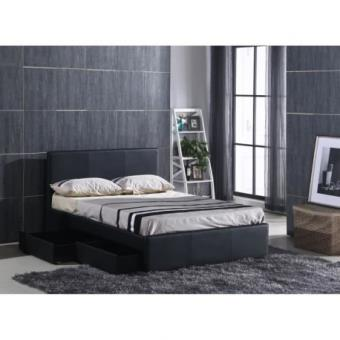 luxe lit adulte avec rangement 160x200cm sommier noir. Black Bedroom Furniture Sets. Home Design Ideas