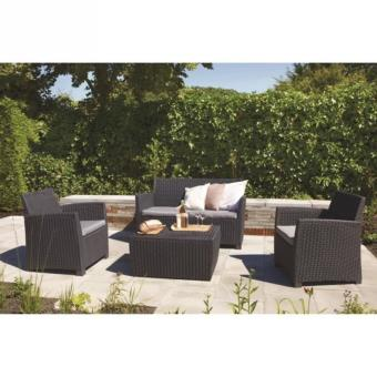 Corona salon de jardin aspect rotin tress rond achat for Salon de jardin lounge
