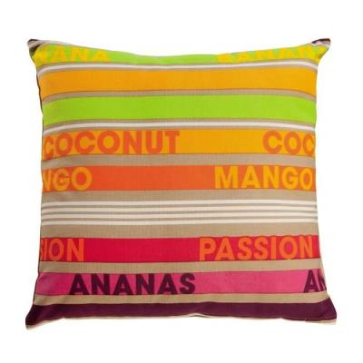 Coussin 100% Coton De Coloris Orange, Imprimé Bayadere Sur Endroit Et Envers. Garnissage : 100% Polyester. Enveloppe : 100% Coton. Grammage : 200 Gr/M². Dimensions : 45X45 Cm. Lavage A 30°C.