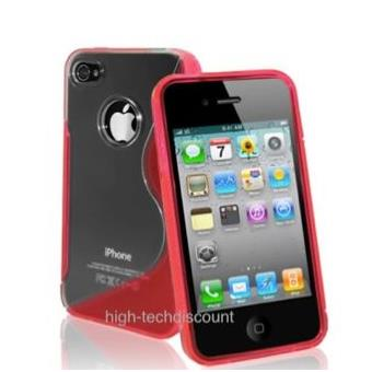 housse etui coque silicone gel rouge pour apple iphone 4s iphone 4 film ecran achat prix. Black Bedroom Furniture Sets. Home Design Ideas
