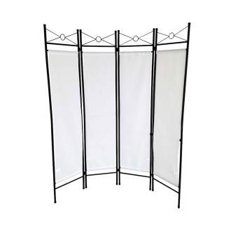 paravent en fer laqu et toile blanche 4 panneaux avec encadrement l gant achat prix fnac. Black Bedroom Furniture Sets. Home Design Ideas