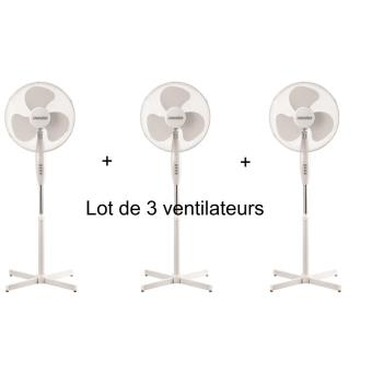 lot de 3 ventilateurs mesko ventilateur sur pied silencieux et oscillant diam tre de 40 cm. Black Bedroom Furniture Sets. Home Design Ideas