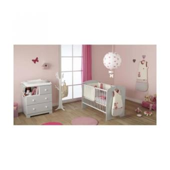 Poyet motte ensemble commode a langer lit b b gris for Ensemble lit commode bebe