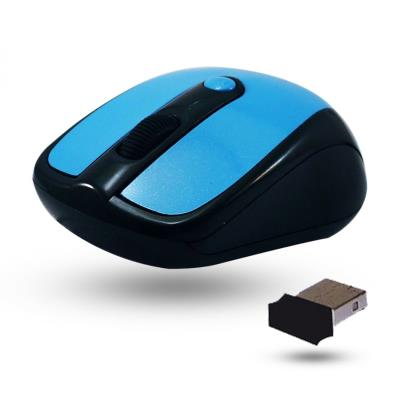 Munissez-vous de cette mini souris optique sans fil 3 + 1 boutons 2.4Ghz pour profiter de toutes vos activités bureautiques en toute liberté. Fourni avec un Nano dongle USB Résolutions : de 800 à 1600dpi Porte maximale : jusqu´à 8m Pile AA incluse Dimensi