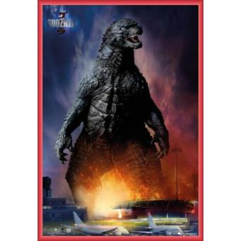 poster encadr godzilla monstre l 39 a roport 91x61 cm cadre plastique rouge top prix sur. Black Bedroom Furniture Sets. Home Design Ideas