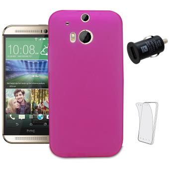 Housse rose pour htc one m8 1 chargeur voiture 3 films for Housse voiture rose