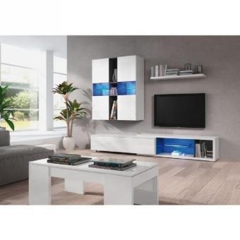 Noon meuble tv mural avec clairage led 154cm blanc for Meuble mural multimedia