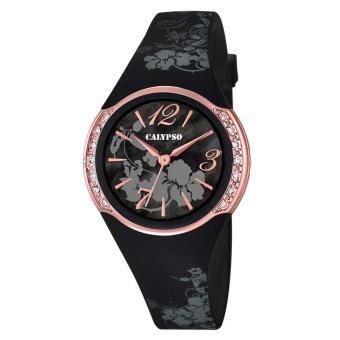 montre calypso k5639 4 montre or rose noire fille achat prix fnac. Black Bedroom Furniture Sets. Home Design Ideas