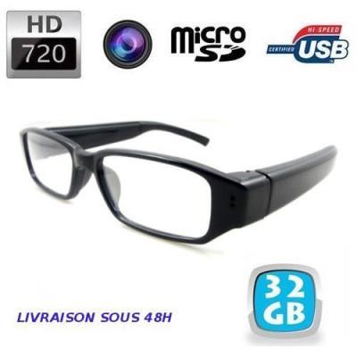 Lunettes caméra espion invisible HD 720p - Caméra espion HD dissimulée dans une paire de lunettes qui peut vous accompagner partout où vous allez pour filmer ce que vous voyez en HD 720p. Principales caractéristiques Fonctions : Vidéo, photo, dictaphone V