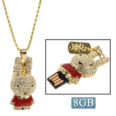 Rabbit Shaped Diamond Jewelry USB Clé Clef USB (8GB), rouge
