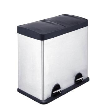 Premier poubelle de recyclage 2 compartiments acier inoxydable 48 litres ac - Poubelle 2 compartiments ...