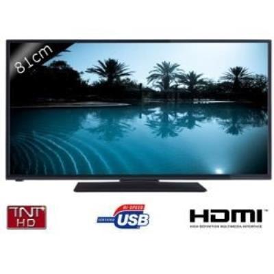 Téléviseur LED 32 (81cm) - Tuner TNT HD - HDTV - Résolution 1366 x 768 - HDMI 1.4 - Port USB Ultra speed - Format 16 9 - Péritel RVB - Prise casque - Lecteur de carte PCMCIA - Prise PC - Amplificateur - Décodeur audio Dolby digital - Couleur noir - Dimens