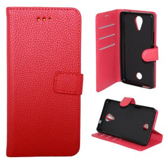 Etui housse coque portefeuille wiko tommy rouge achat for Housse wiko tommy 2