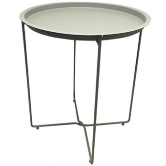 Table en m tal ronde pliante plateau amovible int rieur for Table jardin metal ronde pliante