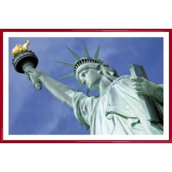 poster encadr new york statue de la libert ind pendance 61x91 cm cadre plastique rouge. Black Bedroom Furniture Sets. Home Design Ideas