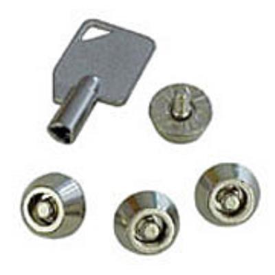 Méthode simple et efficace pour protéger votre boîtier PC! · Prévenez l´ouverture de votre boîtier PC · 4 x vis de sécurité · 1 x clé