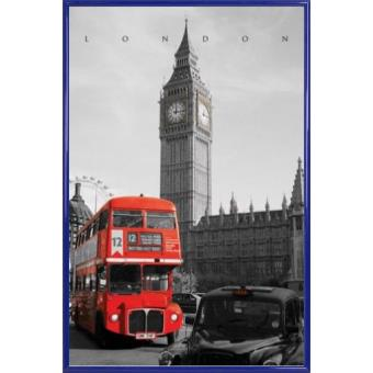 poster encadr londres taxi westminster bus rouge 91x61 cm cadre plastique bleu top. Black Bedroom Furniture Sets. Home Design Ideas