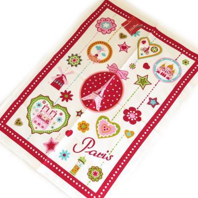 Image du produit Les Trésors De Lily [M4548] - Torchon créateur ´Paris´ rouge multicolore