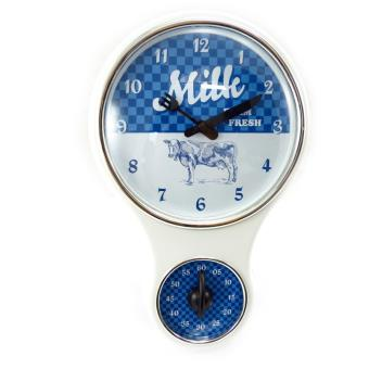 horloge murale 39 milk 39 blanc bleu minuteur achat prix fnac. Black Bedroom Furniture Sets. Home Design Ideas