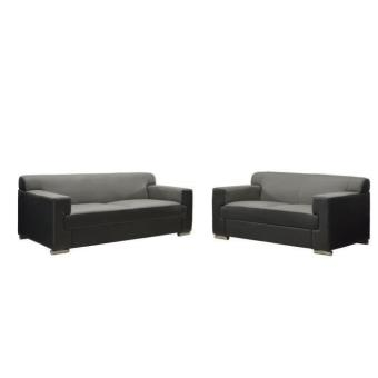 cubo canap 3 2 places cuir buffle gris pu noir achat prix fnac. Black Bedroom Furniture Sets. Home Design Ideas