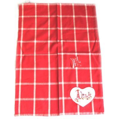 Image du produit Les Trésors De Lily [M4555] - Torchon créateur ´Alsace - Satzer´ carreaux rouge