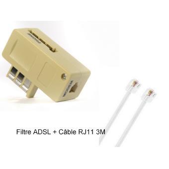 cabling filtre adsl du service t l phonique ordinaire c ble rj11 3 m tres blanc achat. Black Bedroom Furniture Sets. Home Design Ideas