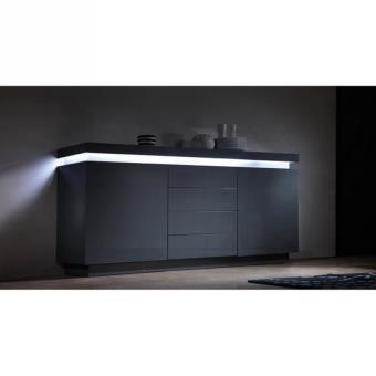 flash buffet laqu gris 175cm avec led blanche achat prix fnac. Black Bedroom Furniture Sets. Home Design Ideas