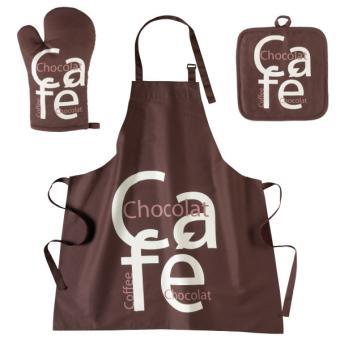 lot tablier de cuisine gant et manique marron cafe chocolat achat prix fnac. Black Bedroom Furniture Sets. Home Design Ideas