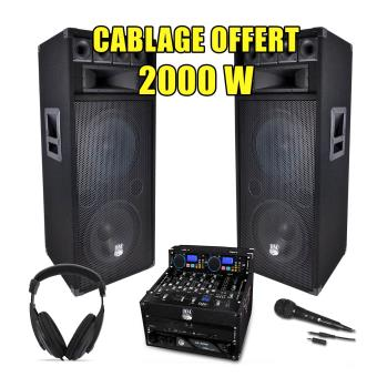 pack sono dj complet 2000w ampli lecteur cd ibiza top. Black Bedroom Furniture Sets. Home Design Ideas